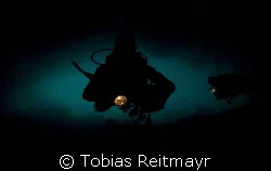 Chris and Georg entering Maya cave, amazing dive site, Ma... by Tobias Reitmayr