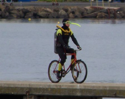 A diver riding a bike down a pier.  check out his massive... by Cal Mero