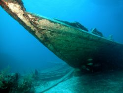 Haitian Wreck, Nassau, Bahamas.  Nikon CP500 with Wide an... by Sally Thomson