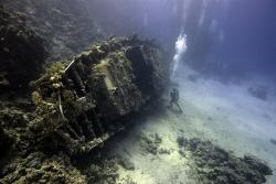 Sailingboat wreck at Abu Galawa Soraya, Red Sea, Egypt. N... by Dray Van Beeck