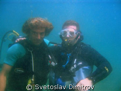 Me and my instructor Tailan during the dive at shore rife... by Svetoslav Dimitrov