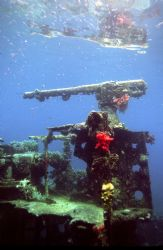 Gunboat Wreck; Truk; Housed Nikon F, 24mm lens by Rick Tegeler