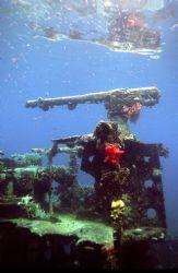 Gunboat Wreck; Truk; Housed Nikon F, 24mm lens by Rick Tegeler