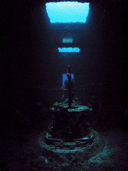 Inside the wreck of the WIT Concrete in St. Thomas.   by Juan Torres