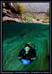 """My wife flashed under the """"Devil Brigde"""" in the Verzasca ... by Michel Lonfat"""