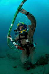Navy diver on the bottom. Shot with a Nikon D300 in a Sea... by Andrew Mckaskle