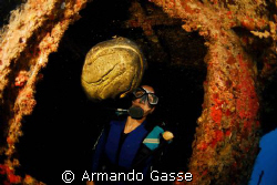 Goliath Grouper and Female Diver, ¿ Who goes out first ? by Armando Gasse