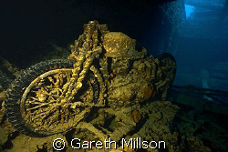 Motorcycle in Hold of the SS Thistlegorm.  Canon 10-22mm ... by Gareth Millson