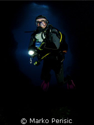 Portrait of a diver. Blue Cave Komiza Vis. by Marko Perisic