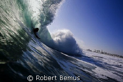 Rare breed...bodysurfer at Newport Point, CA... by Robert Bemus
