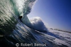 Rare breed...bodysurfer at Newport Point, CA... by Robert Bemus