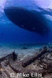 The M/V Dolphin Dream above the Sugar wreck in the Bahamas. by Mike Ellis