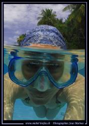 Half-half - Maldives Island / my wife :O) ........ by Michel Lonfat