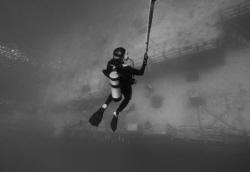 Diver ascending from USS Spiegel Grove. by David Heidemann