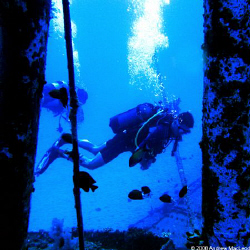 Divers doing what divers do. On a wreck in Mauritius by Andrew Macleod