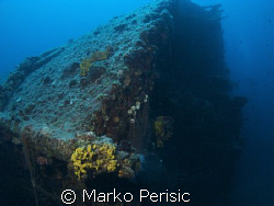 Looking down the bow of the Vassilios resting on her side... by Marko Perisic