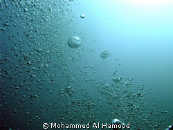 Bubbles, I took this pic underwater with Olympus C8080 WZ... by Mohammed Al Hamood