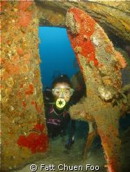 Evelyn at the Five Sisters wreck, Pulau Tenggol, Malaysia by Fatt Chuen Foo