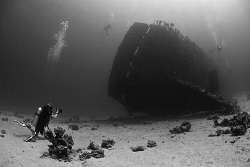 Heather photographing divers on the Carnatic - Red Sea - ... by Jim Garland
