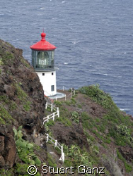 This is a picture of the Makapuu light house on Oahu's ea... by Stuart Ganz