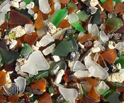 Beautiful sea glass beach in Bermuda. Sea glass, also cal... by Jim Chambers