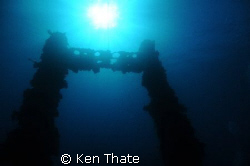 A shot of the King Posts of the Wrecks of Truk Lagoon. by Ken Thate