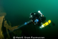 Diver Inspecting the WWII wreck UJ279, Submarine hunter, ... by Henrik Gram Rasmussen