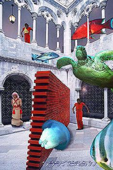 Lissabon - fishes and turtle in tile museum - photoshop c... by Manfred Bail