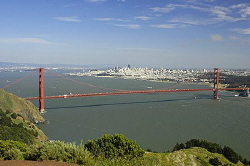 San Francisco Bay and the Golden Gate Bridge on an unusua... by Jim Chambers