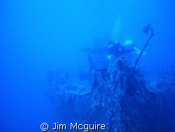 Bow of the Wreck we know as P-Buoy here in the Kwajalein ... by Jim Mcguire