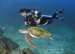 Diver with Turtle, Muscat, Oman. Nikonos RS, UW-Zoom 20-3... by Frank Schneider