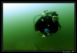"""My friend Pili during a dive on the """"Wels catfish barge"""" ... by Daniel Strub"""