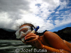 Time to breathe!!! snorkeler at La Perouse Bay,Maui,Canon... by Jozef Butala