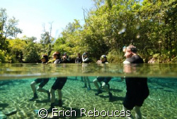 Briefing time for a group of snorkelers. Fresh water, Ce... by Erich Reboucas