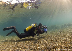 Mr H in action on a cold winter's dive in Capernwray.