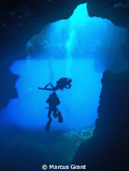 Shot taken from a cave aat the back of The Blue Hole, Goz... by Marcus Grant