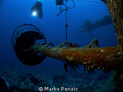 A diver descends towards one of the crows nest for a clos... by Marko Perisic