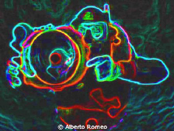 The Underwater Photographer.  Photoshopped with neon filter by Alberto Romeo