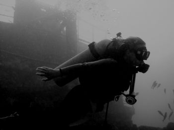 Hawaii.  120ft down on our first wrek dive.  Could only c... by Caitlin D. Casey
