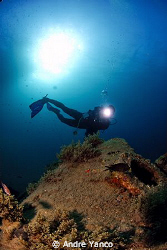 Diver posing infront of a sunken water treatment tanker, ... by Andre Yanco