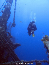 Taekn on one of Favourite wreck,the Um El Faroud on Malta... by Marcus Grant