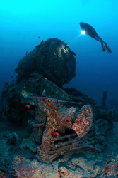 Steam Engine, Thistlegorm, Red Sea, Egypt. by Jim Garland
