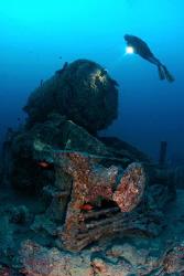 Steam Engine, Thistlegorm, Red Sea, Egypt. by Jim Garland