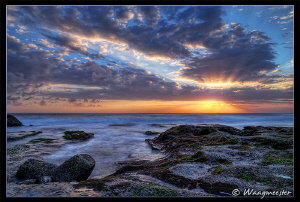 Sunset on the south-west coast of Bali, view over the Ind... by Marco Waagmeester