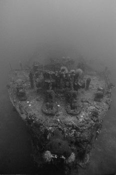 Ghost ship -- the bow of the Katsuragisan Maru in Truk La... by Eric Bancroft