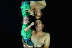 Tim my mate & son having a swim by Dave Baxter