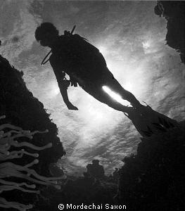 My son, at Devil's Grotto by Mordechai Saxon