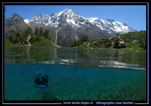 Mountain Lake Diving with my wife Caroline. Que du bonheu... by Michel Lonfat