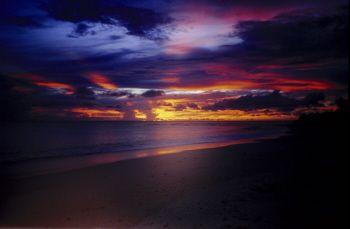 Atomic Sunset - sunset over the Lagoon at Bikini Atoll by Eric Bancroft