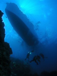 Diver's at the Cod Hole - Rowley Shoals WA. Oly C5060 Ino... by Mick Tait